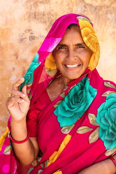 The colorful dress of a woman at the Amer Fort.