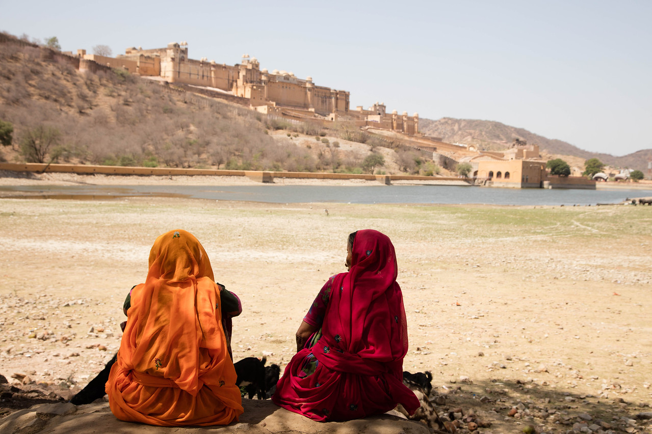 Two women looking at Amer Fort.