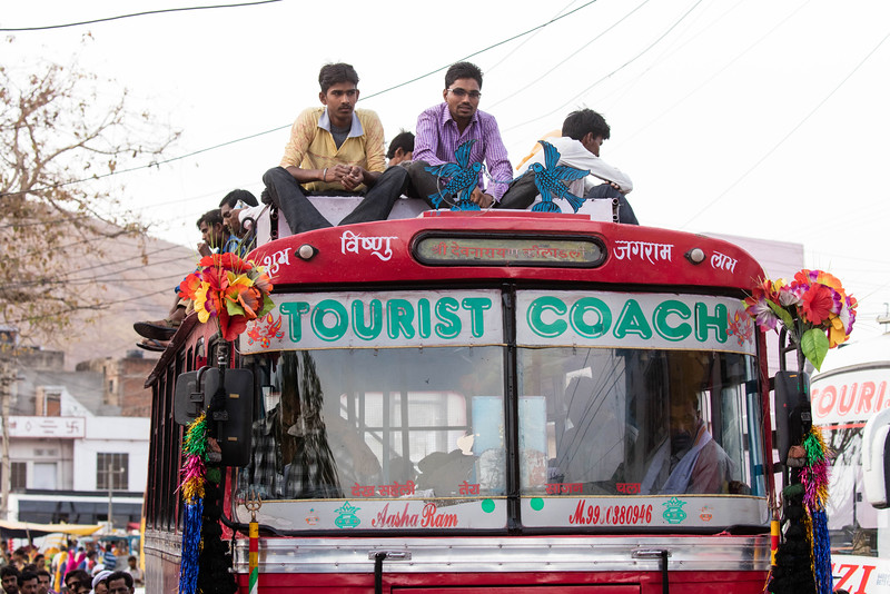 Buses always packed and when full inside they sit on top.