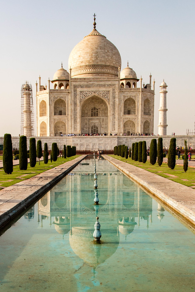 Reflections of the Taj Mahal.