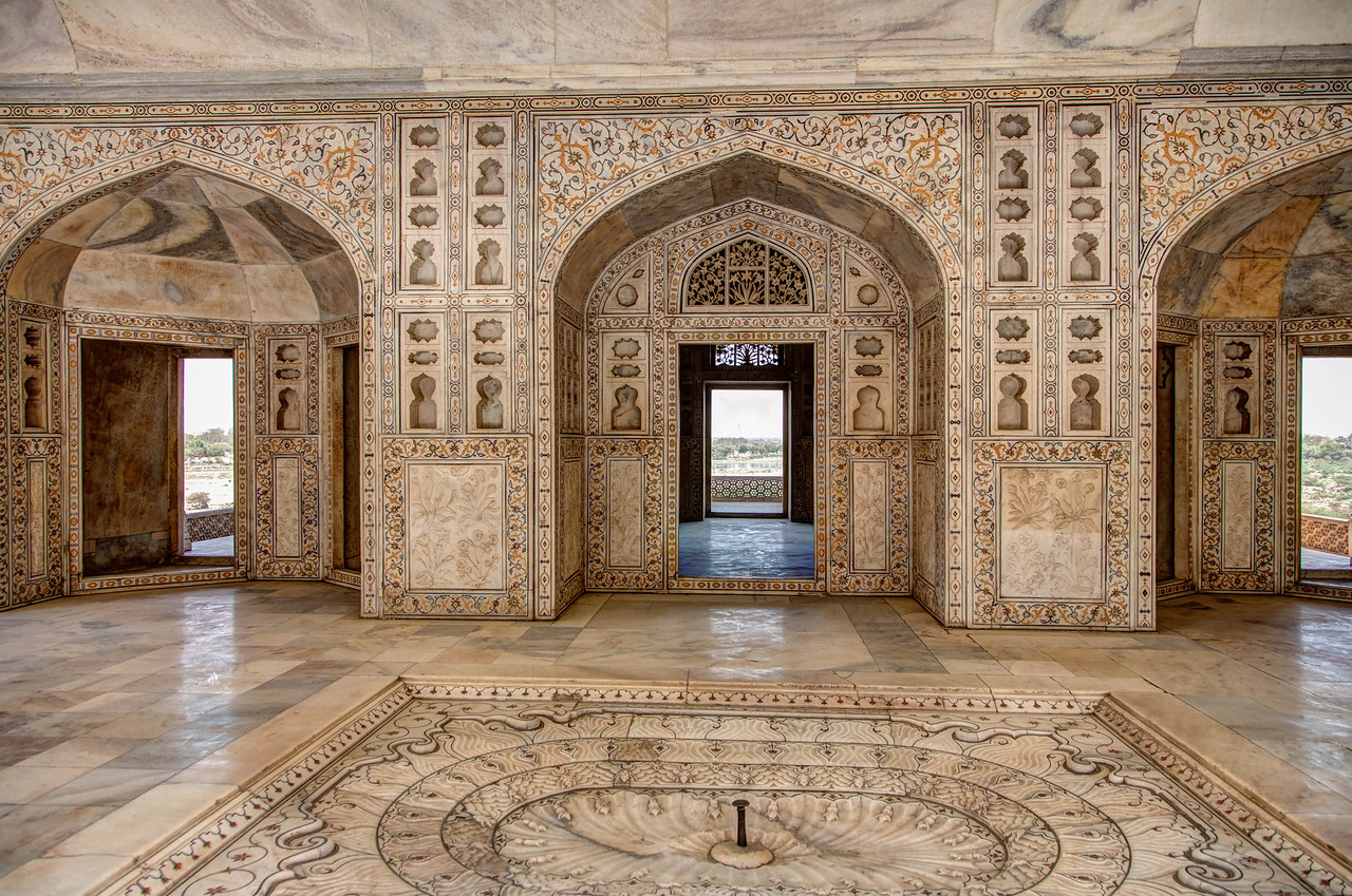 Interior of Agra Fort.