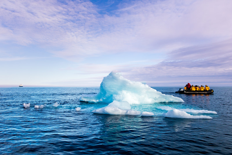 At Victorial Strait we encounter lots of small icebergs. We left the ship (see upper left) with our Zodiacs to inspect the ice up close.