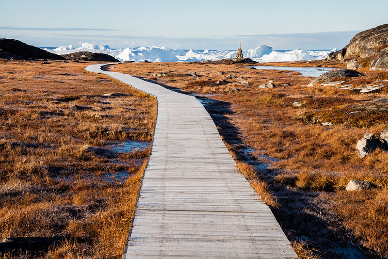 Walking to Jakobshavn Glacier from the town of Ilulissat, Greenland.