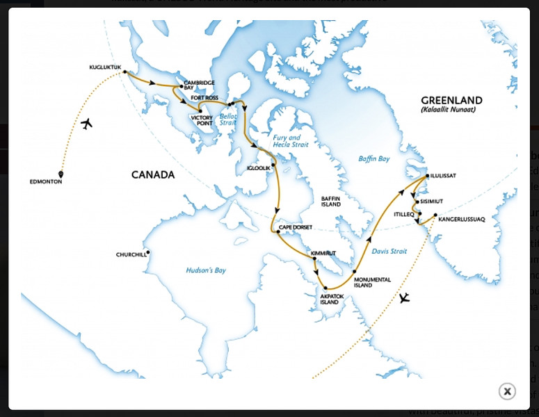 The route we followed to navigate the Northwest Passage.