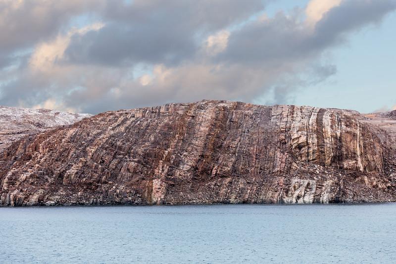 The massive granite forming Bellot Strait
