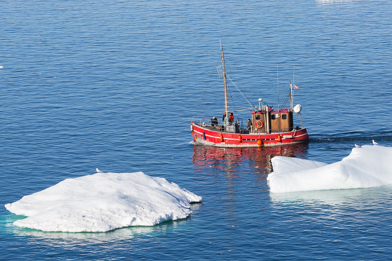 Small boat navigating the ice waters around Ilulissat.