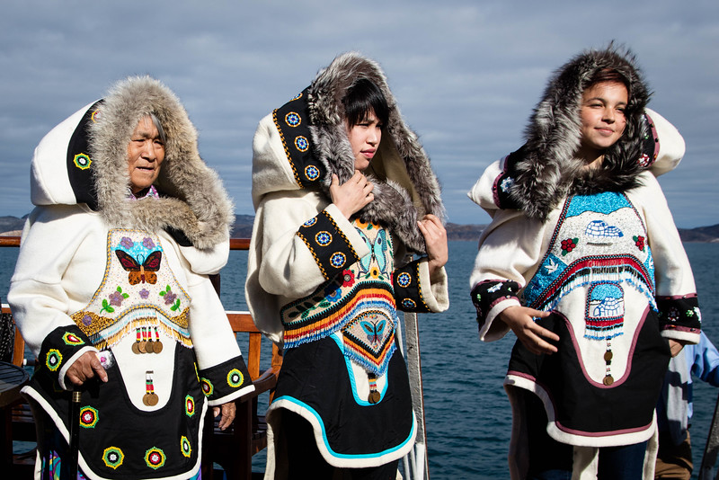 At Cape Dorset we watched and listened to the two women on the right demonstrate throat singing. The woman on the left made the outfits.
