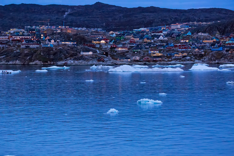 Ilulissat, Greenland  at dusk.