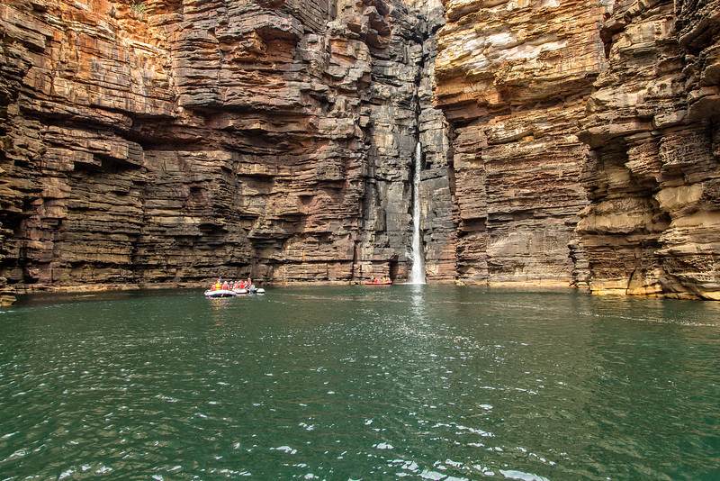 Approaching the Falls with our Zodiacs.