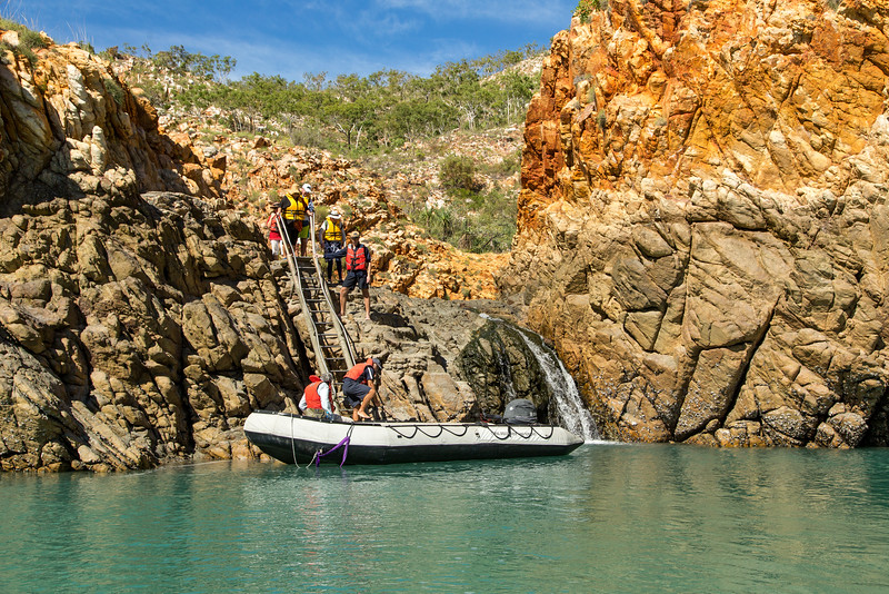 We ascended and descended this ladder to reach the only place on the entire trip where we could swim without the threat of a crocodile nibbling on our legs.