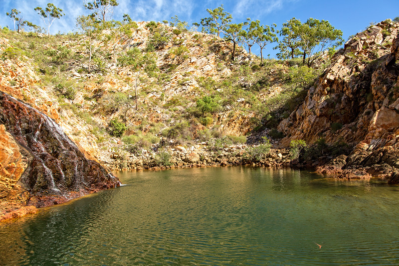 And here is the swimming hole, a natural beauty safe from the crocodiles that roam the rivers.