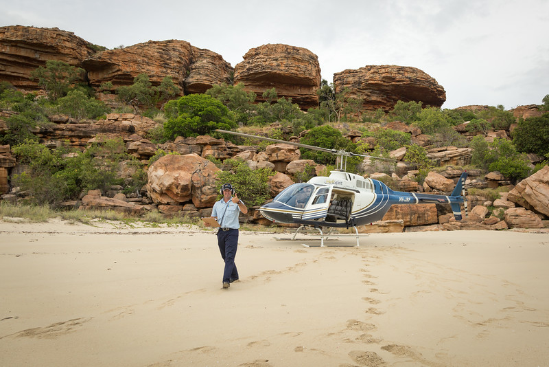 We took this helicopter from the beach inland about 60 miles to see Mitchell Falls.