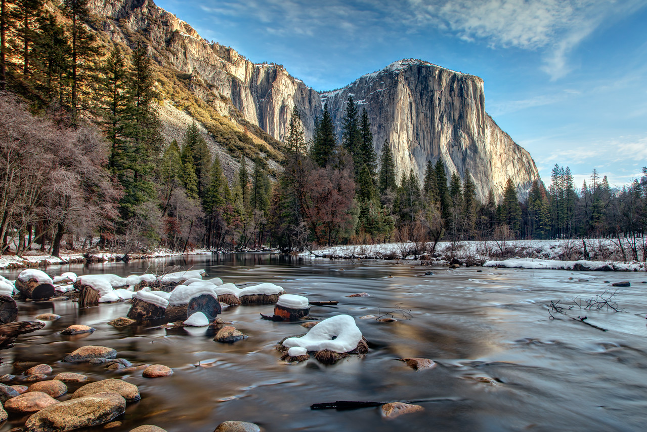 Silky water looking out at El Capitan