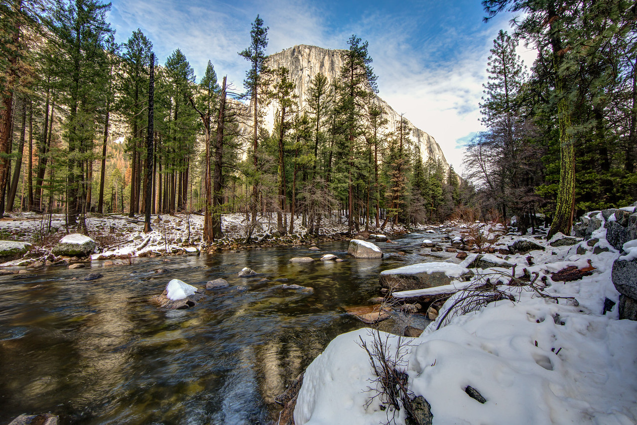 Merced River with El Capitan in background