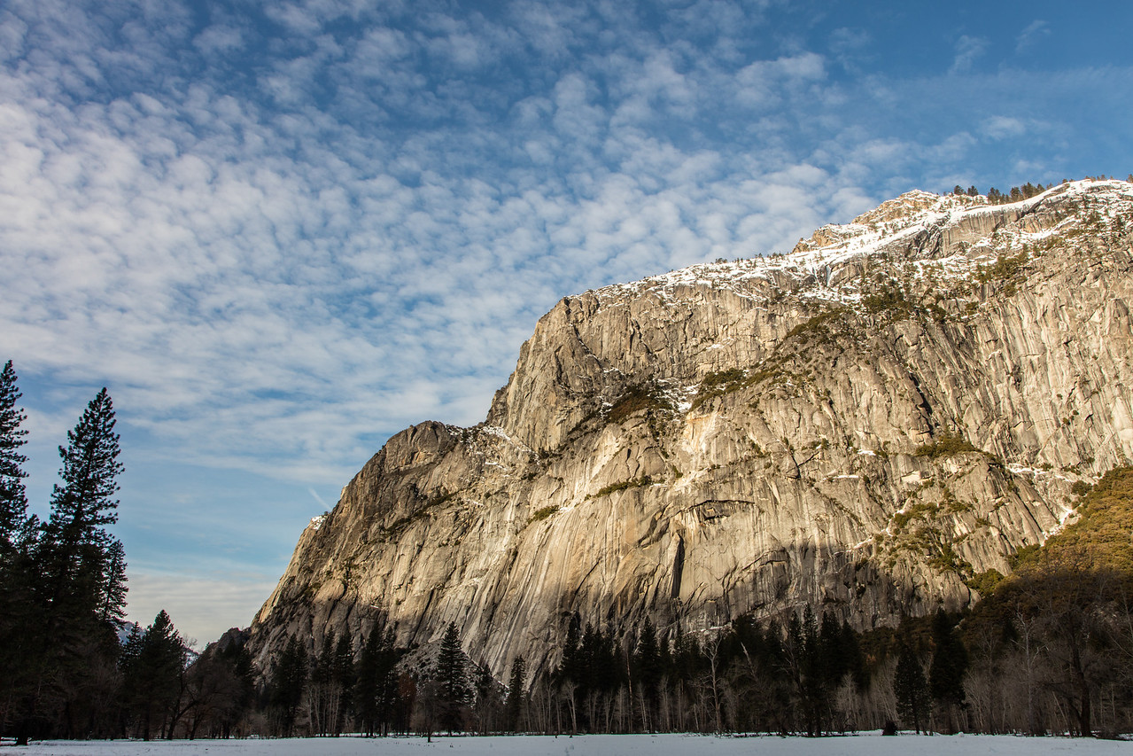 The big rock to the left of Yosemite Falls