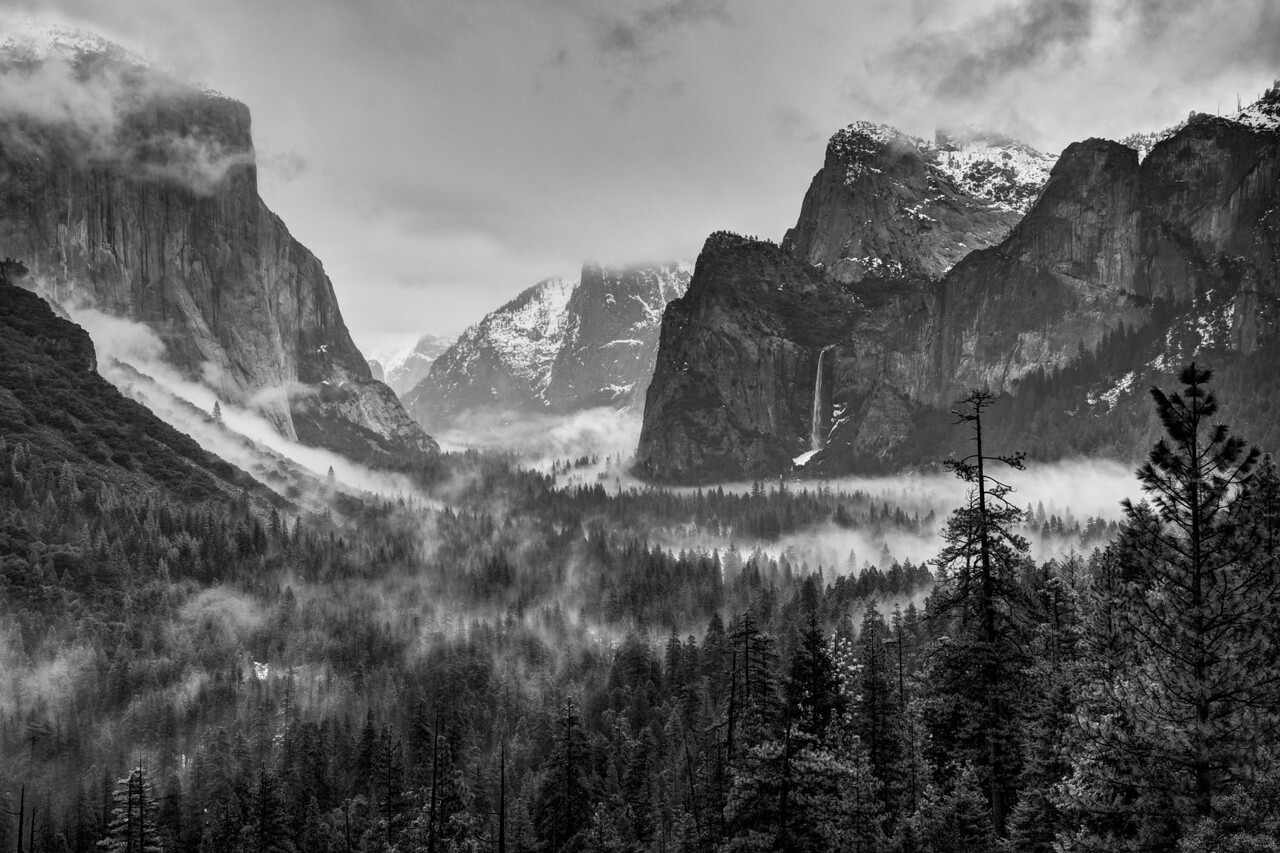 Foggy Yosemite Valley from the Tunnel View