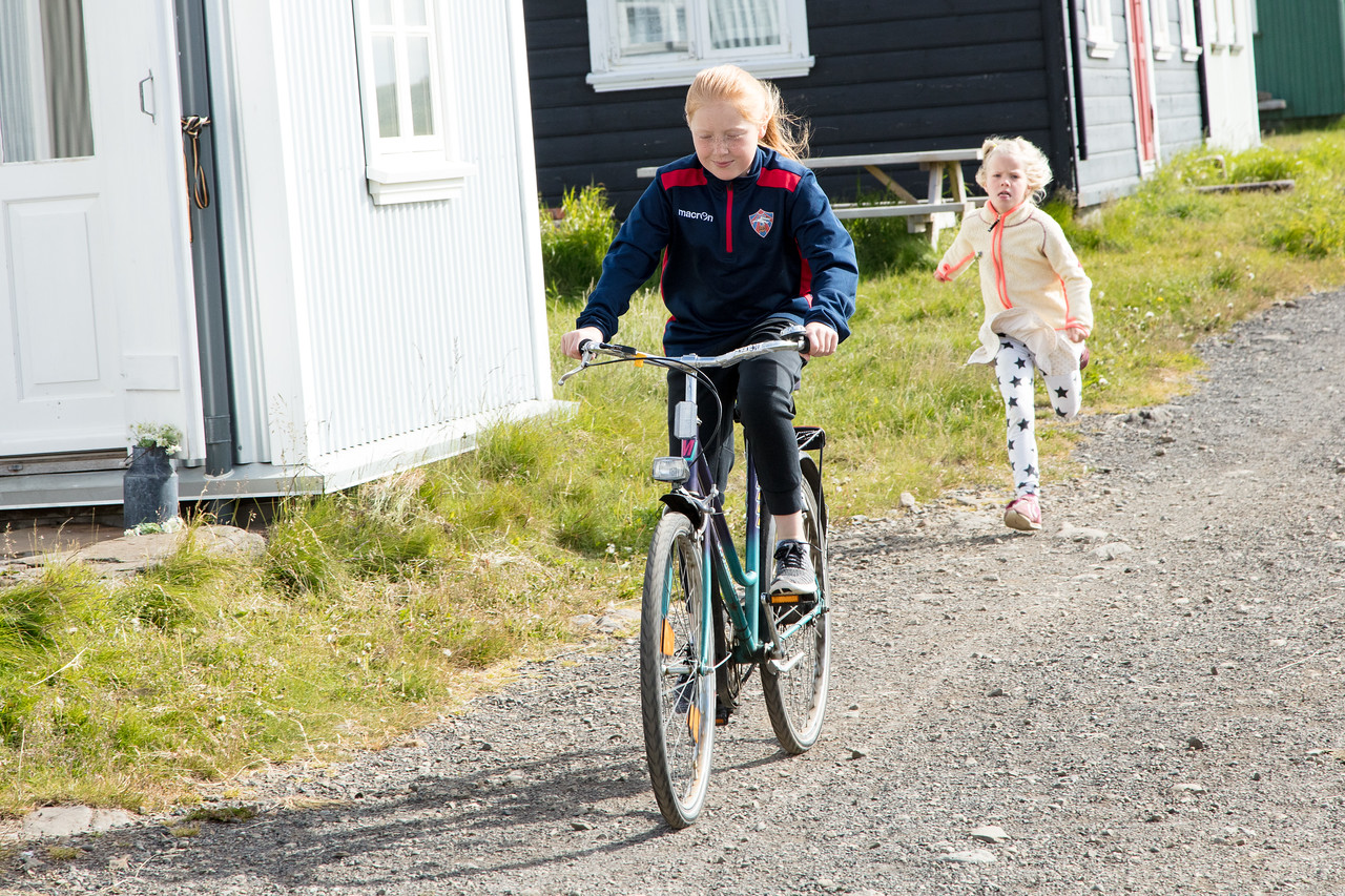 Kids running free on Flatey Island