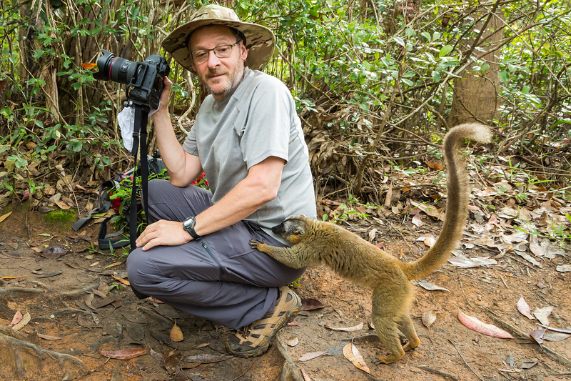 Ilya had put a banana in his pocket, and this red-fronted brown lemur was trying to pick his pocket.