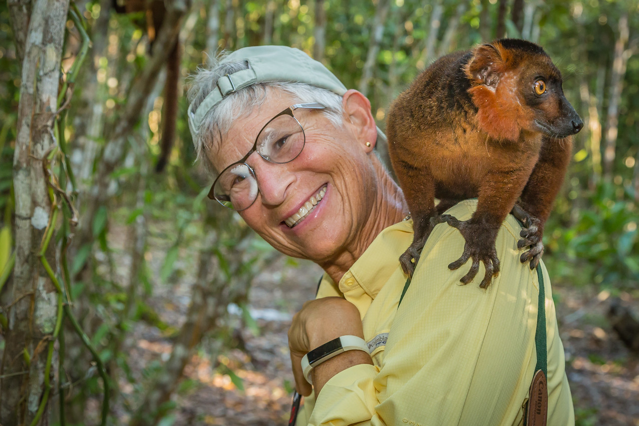 Julie now downright comfortable with this hybrid lemur on her shoulder