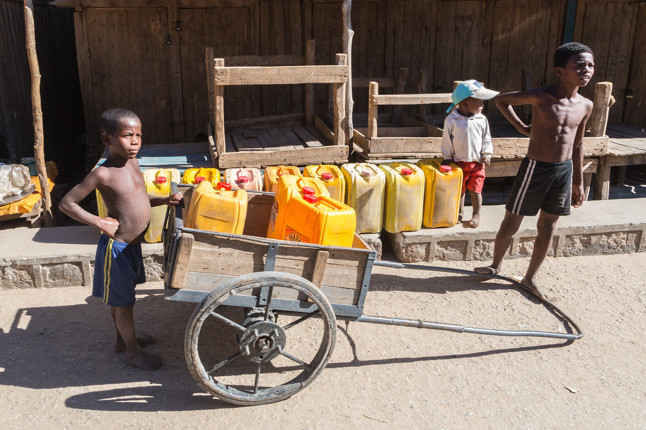 Hauling water is a common activity.