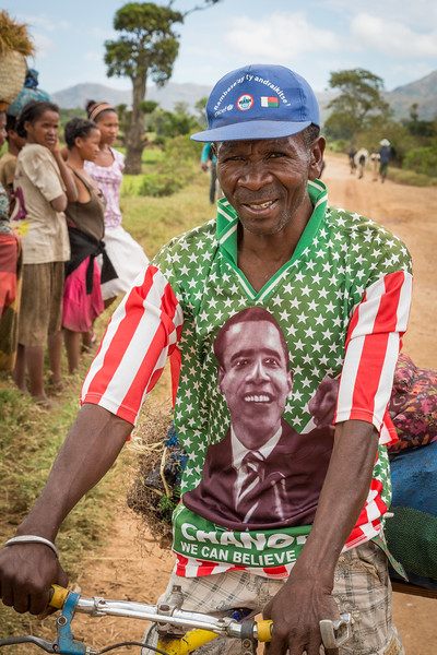 We met this fan of Obama who was biking along the road.