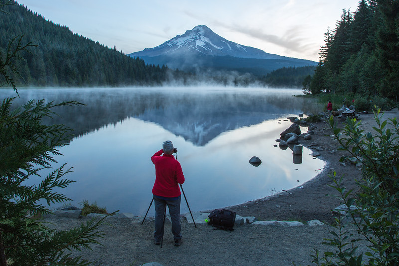 We came back to Trillium Lake a week later in hopes of better light. Here is Julie in position to capture the sun hitting the mountain, but it never did.