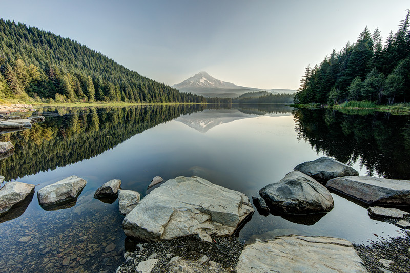 We were told the shot to get of Mt Hood was from Trillium Lake south of the mountain. While the water was calm to capture a reflection the light on the mountain was poor.