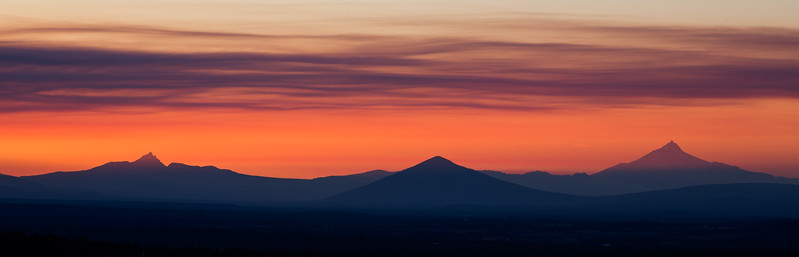 The peaks of central Oregon viewed from Pilot Butte