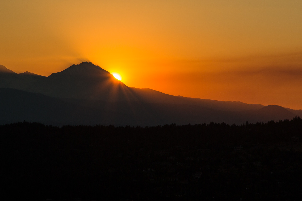 Sun setting over Bend, viewed from Pilot Butte, the dead volcano in the center of town