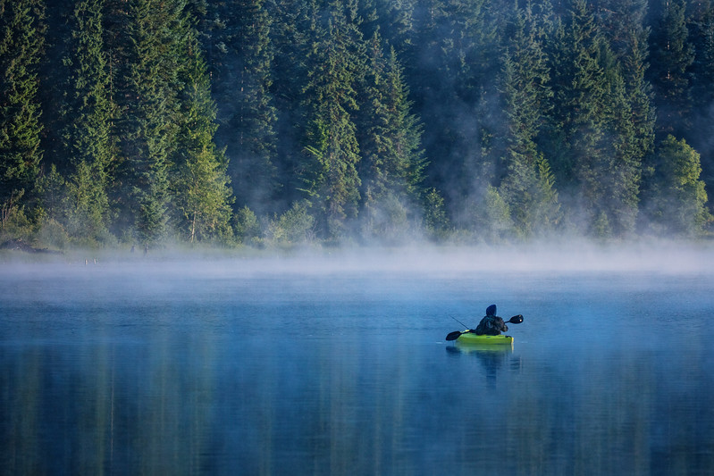 Of all the photos we took at Trillium Lake, I like this one best of a kayaker moving slowly in position to fish amidst the low lying fog