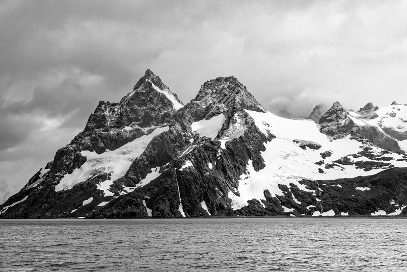 Next we traveled to the Drygalski Fjord at the southern tip of South Georgia. Here in black and white is the entrance to the Fjord.