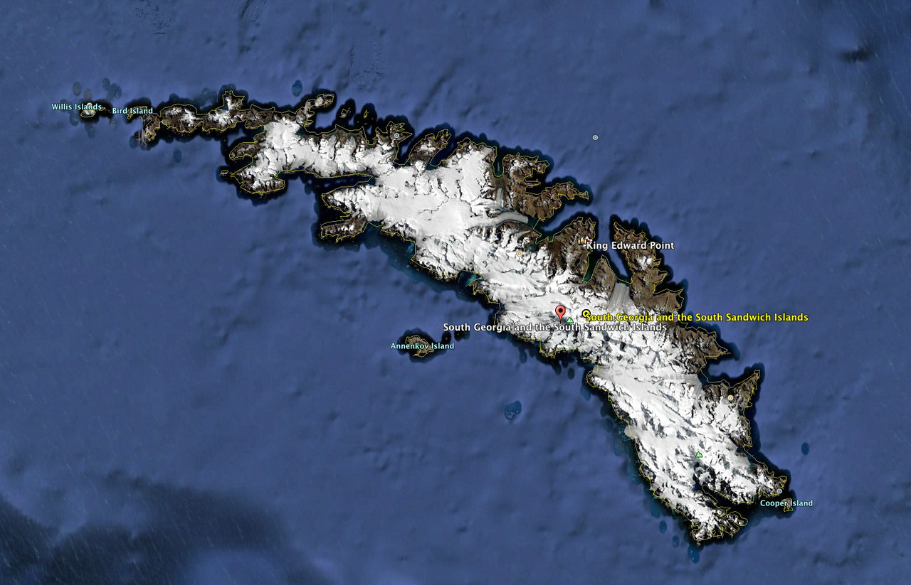 South Georgia as seen by Google Earth. The island consists mostly of rugged mountains and huge glaciers.