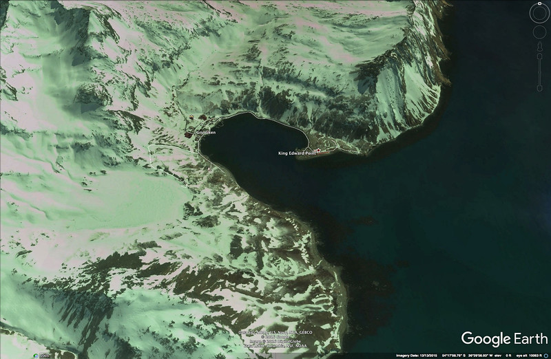 We had a special day visiting Grytviken, a whaling station in the early 1900s. This Google view shows the protected bay.