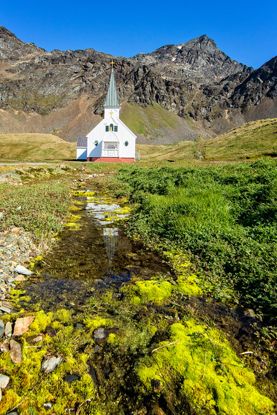 The small church at Grytviken which is in good repair. A couple on our ship were married  in the church  during our short stay here.