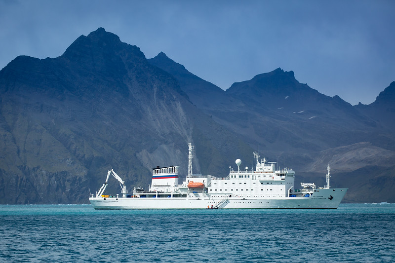 This is the Akademik Sergey Vavilov, our exploration ship, in a photo I took when riding in a zodiac in Jason Harbour. The ship is Russian owned, and we heard stories that the ship was previously a spy ship converted to an exploration ship after the cold war. It was a stable ship in rough seas and quite comfortable.