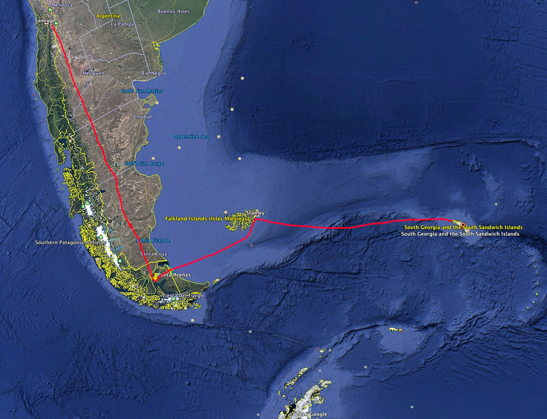 It's a long trip to reach South Georgia. We flew to Santiago, Chile, then to Punta Arenas, Chile, and then to Stanley, Falkland Islands where we boarded our ship that took 2.5 days to reach South Georgia. You can see that it is not too far from the Antarctic Peninsula.
