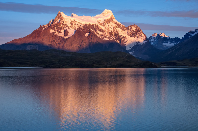 We arose very early to drive about 30 minutes to climb a hill to get this pre-sunrise photo of Cerro Paine Grande. Unfortunately a slight breeze did not give us the mirror-reflection we would have liked .