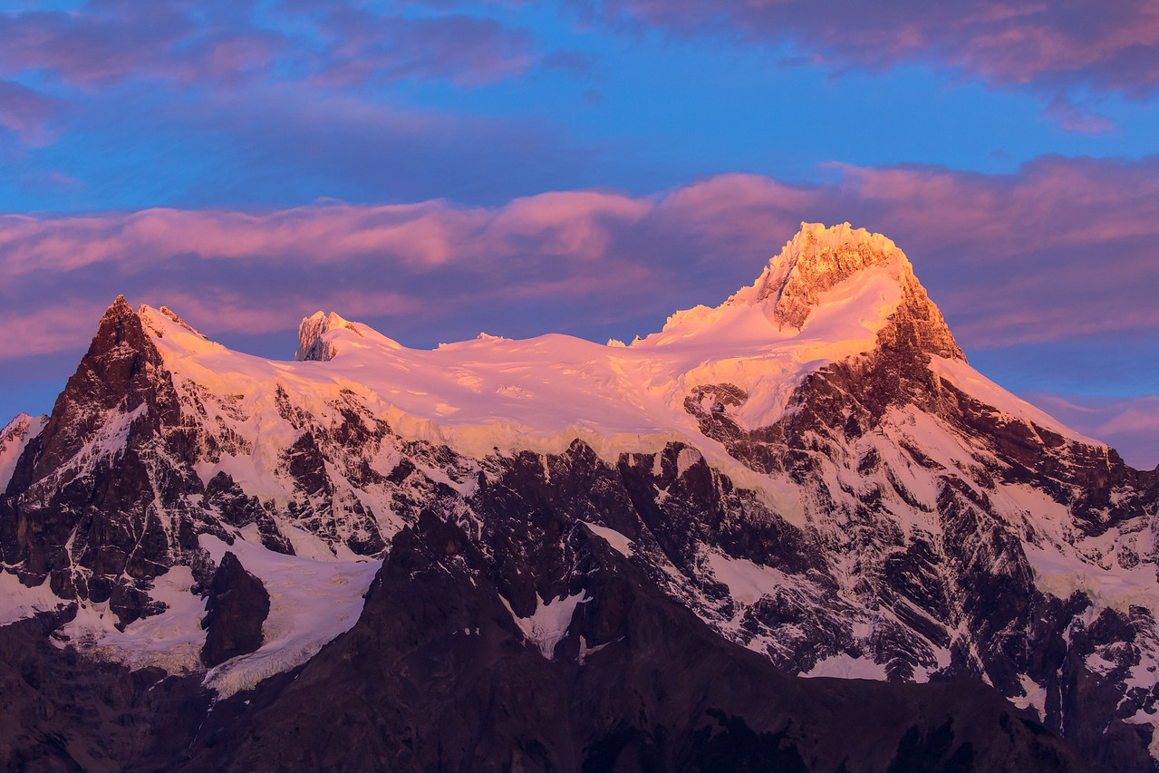Capturing the alpenglow over Cerro Paine Grande.