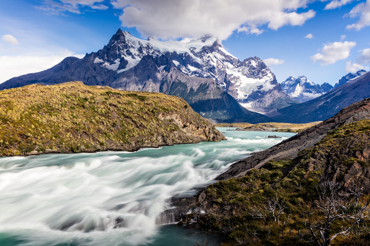 Here is another view of the Paine River just before the falls with Cerro Paine Grande in the background.