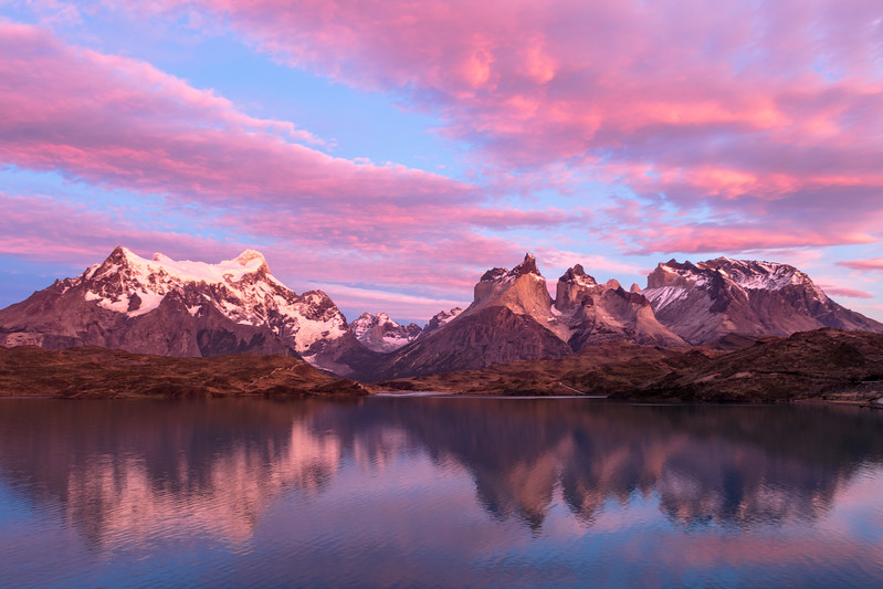 These rugged mountains are called the Paine Massif, the rugged granite spires of Torres del Paine.