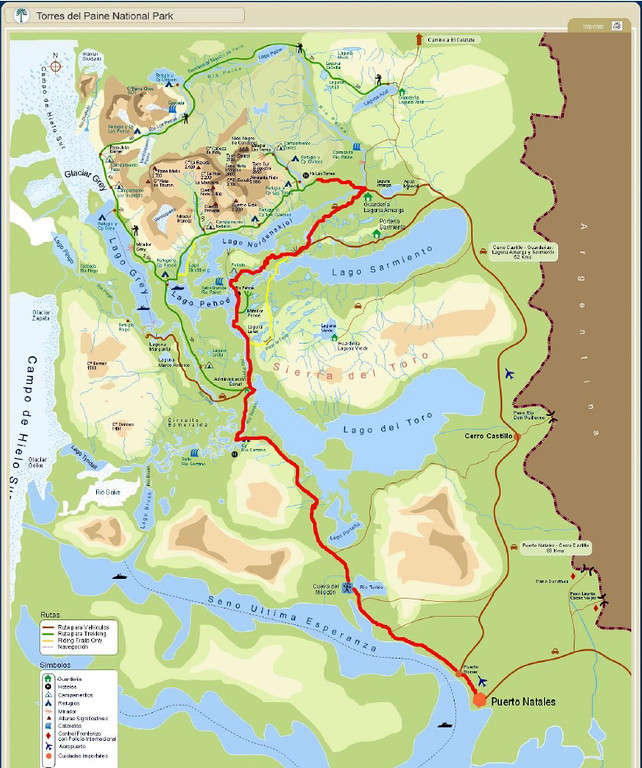 You can get a sense of Torres del Paine from this map. Beautiful tourquoise-colored lakes, huge glaciers, and the distinctive Paine Massif, the rugged spires of these granite mountains.