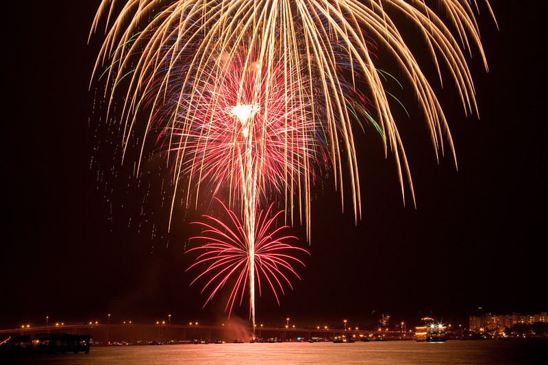 Ormond fireworks over the Intracoastal waterway