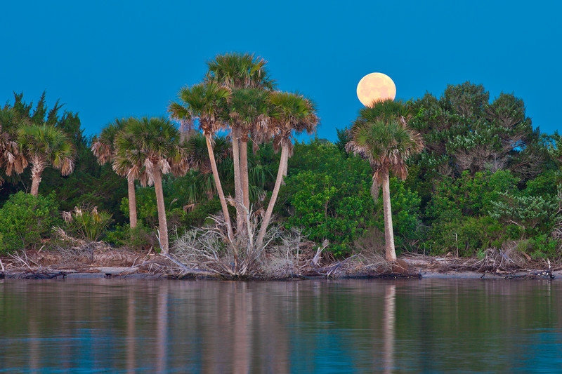 Early morning moonset over the island across the Intracoastal Waterway
