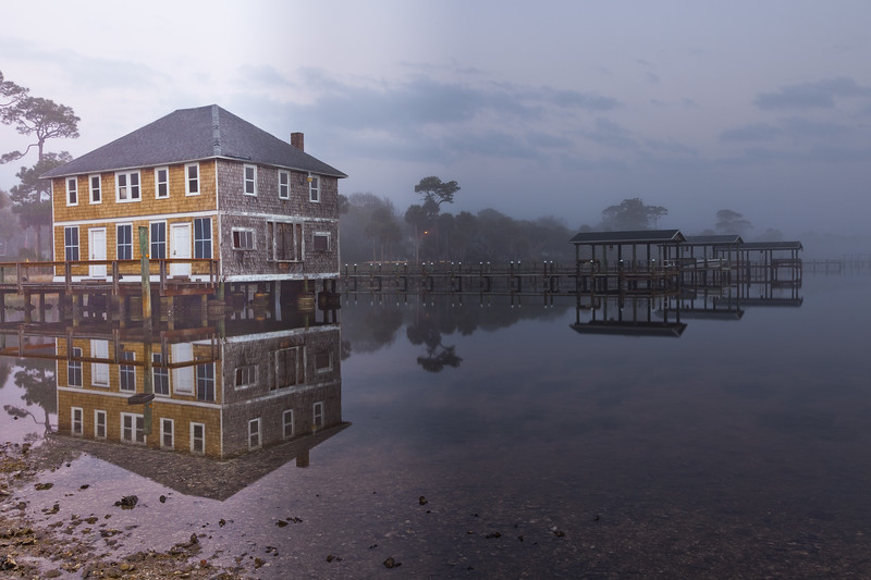 The Ormond Boathouse in early morning light
