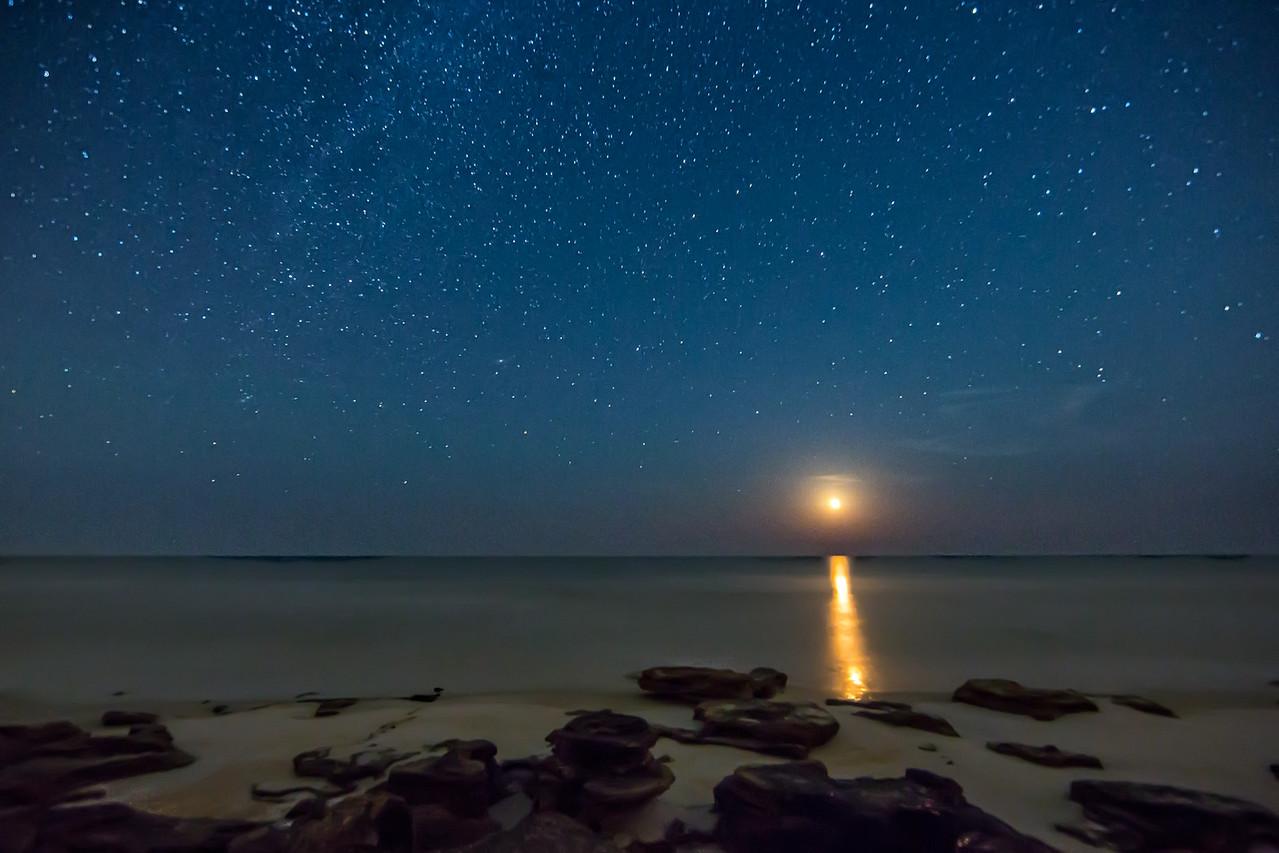 Moonrise near Marineland north of Ormond Beach