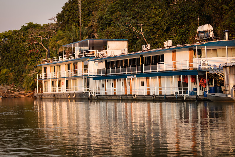 Here is our hotel, built on a barge and tied up to the riverbank. It's called the Jaguar Suites Flotel. Our room was very nice.