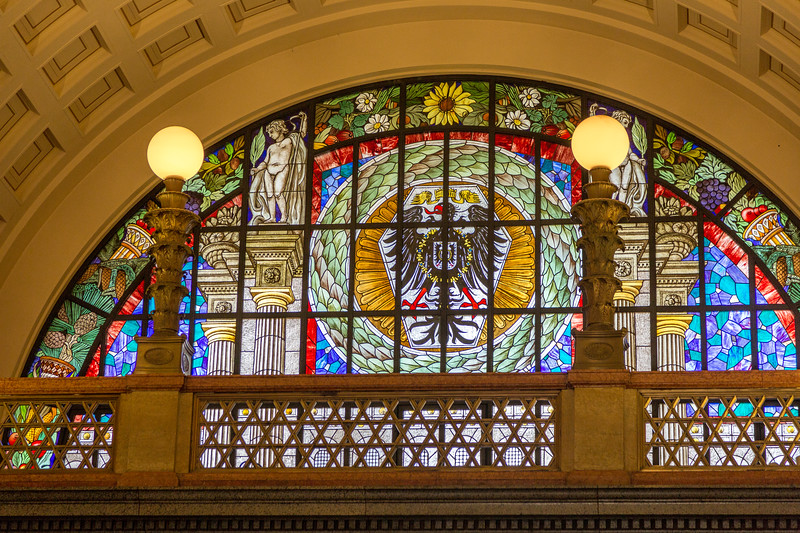 We saw many beautiful stained glass windows. This one is in Wiesbaden.