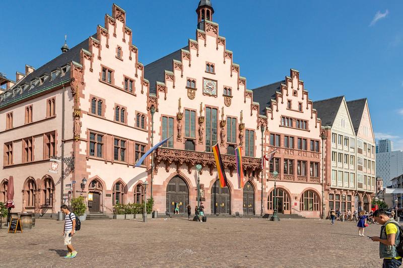 The old city square in Frankfurt.
