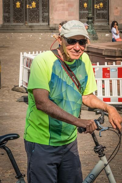 Biking in Frankfurt.