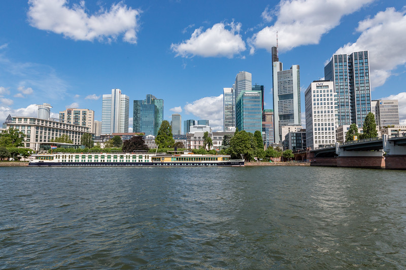 A view of our ship, the River Queen, docked on the Main River, with the City Center of Frankfurt in the background.